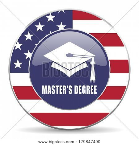 Masters degree usa design web american round internet icon with shadow on white background.