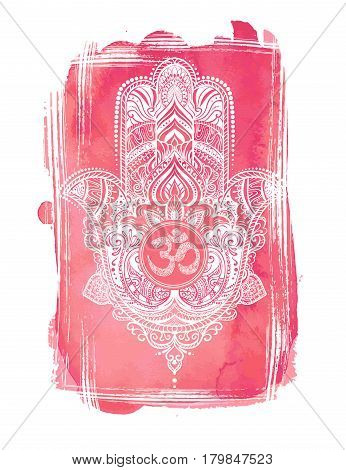 Hand drawn Ornate amulet Hamsa Hand of Fatima.Tattoo design. Ethnic amulet common in Indian, Arabic and Jewish cultures.