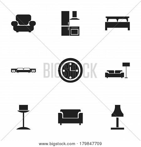 Set Of 9 Editable Furnishings Icons. Includes Symbols Such As Bearings, Settee, Lamp And More. Can Be Used For Web, Mobile, UI And Infographic Design.