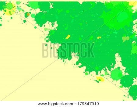 Vibrant bright green watercolor paint artistic splashes frame with room for text horizontal format.