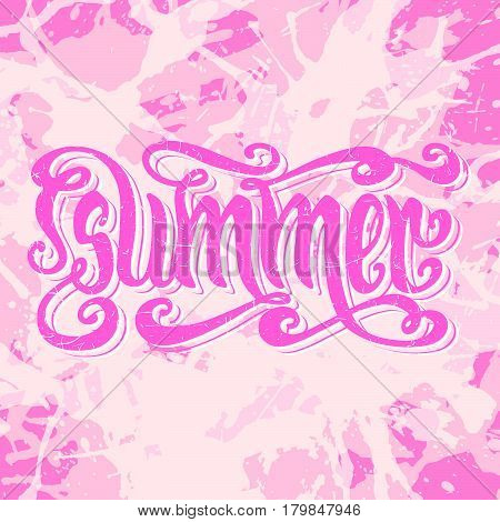 Hand drawn textured word Summer over pastel colored pink artistic paint splashes.