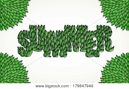 Hand-drawn word Summer with green leaves corners frame. Hand lettering vector typography isolated over white.