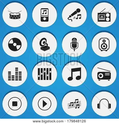 Set Of 16 Editable Sound Icons. Includes Symbols Such As Karaoke, Musical Sign, Snare And More. Can Be Used For Web, Mobile, UI And Infographic Design.
