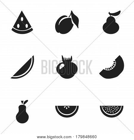 Set Of 9 Editable Fruits Icons. Includes Symbols Such As Duchess, Apricot, Windfall And More. Can Be Used For Web, Mobile, UI And Infographic Design.