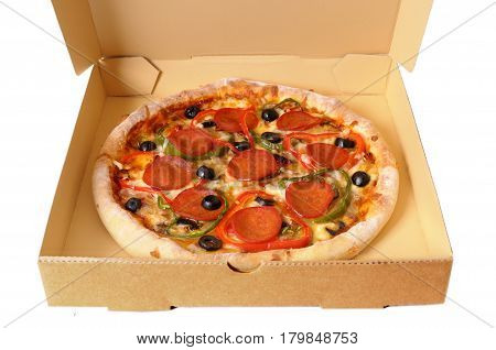Italian Pizza in a box on a white background.