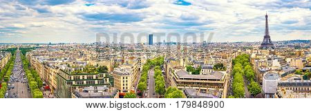 Paris France. Panoramic view from Arc de Triomphe. Eiffel Tower and Avenue des Champs Elysees. Europe.