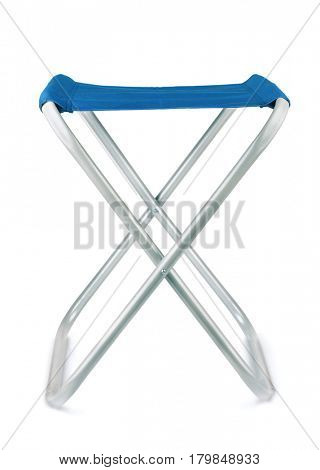 Front view of folding camping stool isolated on white