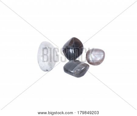 Tumbled moonstones from Russia isolated on white background
