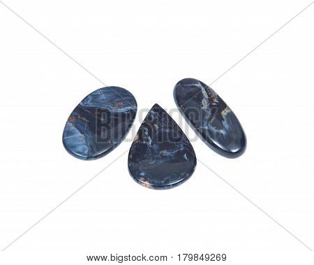 Pietersite cabochons extra from Namibia isolated on white background