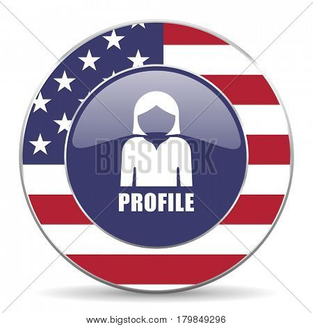 Profile usa design web american round internet icon with shadow on white background.