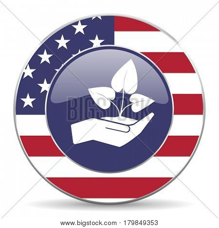 Hand protect plant growth usa design web american round internet icon with shadow on white background.