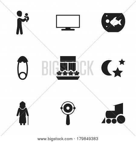 Set Of 9 Editable Family Icons. Includes Symbols Such As Fasten, Rattle, Fish Tank And More. Can Be Used For Web, Mobile, UI And Infographic Design.