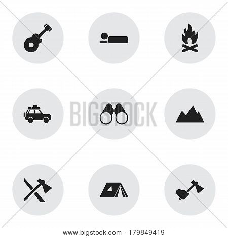 Set Of 9 Editable Travel Icons. Includes Symbols Such As Shelter, Field Glasses, Musical Instrument And More. Can Be Used For Web, Mobile, UI And Infographic Design.