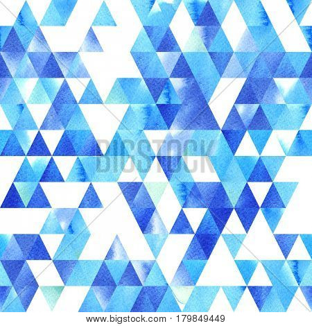 Hand painted watercolor triangle seamless pattern