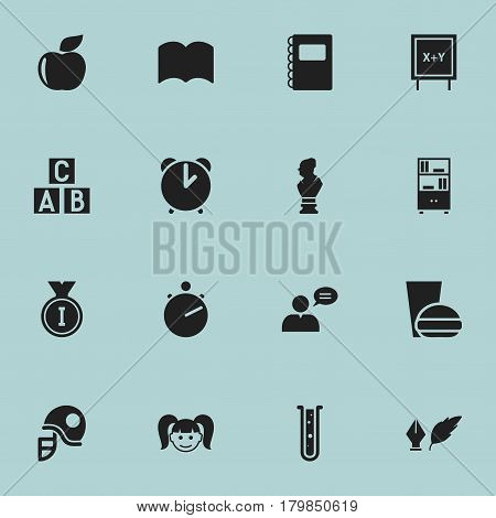 Set Of 16 Editable University Icons. Includes Symbols Such As Literature, Copybook, Daughter And More. Can Be Used For Web, Mobile, UI And Infographic Design.