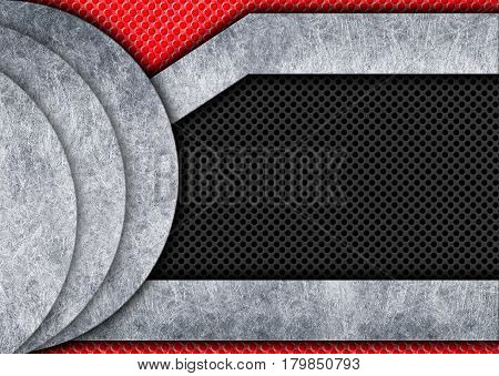 Texture Black And Red Wire Mesh With Plates, Illustration, 3D