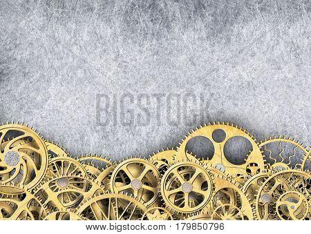 Metal Gear Golden Color, Industrial Background For Design, Illustration, 3D