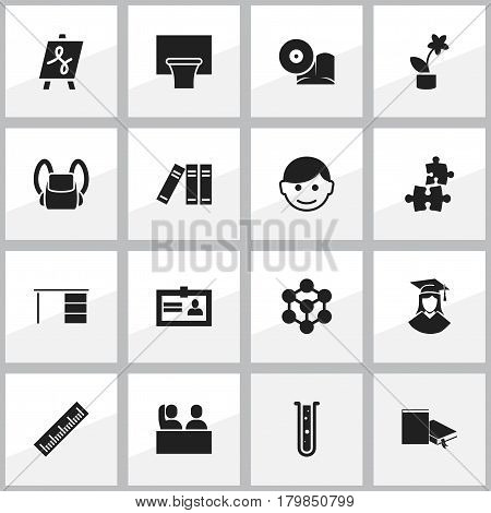 Set Of 16 Editable University Icons. Includes Symbols Such As Schoolbag, Straightedge, Bookshelf And More. Can Be Used For Web, Mobile, UI And Infographic Design.