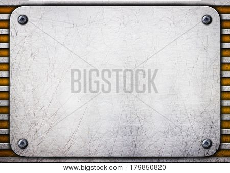 Metal Brushed Plate On Iron Perforated Background, Illustration, 3D