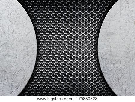 Metal Perforated Background With Brushed Steel Plate, Illustration, 3D
