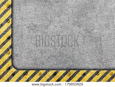 Grunge Metal Template With Warning Stripe Background, Illustration, 3D