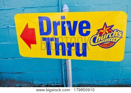 April 3 2017-Church's Chicken drive thru sign this way located in one of the fastfood at Vancouver,BC Canada
