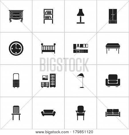 Set Of 16 Editable Furnishings Icons. Includes Symbols Such As Illuminant, Commode, Bookrack And More. Can Be Used For Web, Mobile, UI And Infographic Design.