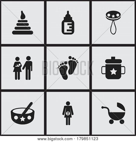 Set Of 9 Editable Kid Icons. Includes Symbols Such As Footmark, Tower, Stroller And More. Can Be Used For Web, Mobile, UI And Infographic Design.