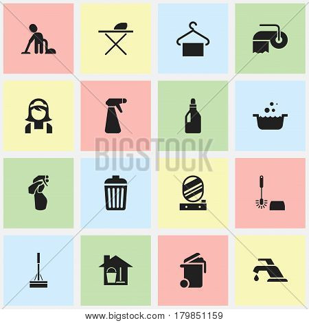 Set Of 16 Editable Cleanup Icons. Includes Symbols Such As Trash, Servant, Faucet And More. Can Be Used For Web, Mobile, UI And Infographic Design.