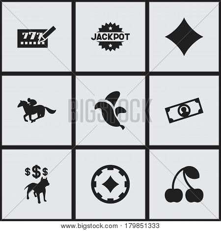 Set Of 9 Editable Gambling Icons. Includes Symbols Such As Jungle Fruit, Dog Fighting Bet, Ace Of Diamonds And More. Can Be Used For Web, Mobile, UI And Infographic Design.