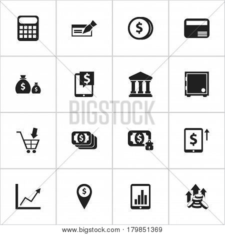 Set Of 16 Editable Investment Icons. Includes Symbols Such As Coins Raise, Shopping Pushcart, Bucks And More. Can Be Used For Web, Mobile, UI And Infographic Design.
