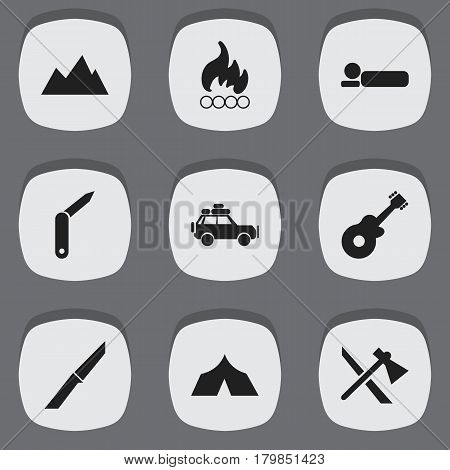 Set Of 9 Editable Travel Icons. Includes Symbols Such As Voyage Car, Knife, Blaze And More. Can Be Used For Web, Mobile, UI And Infographic Design.