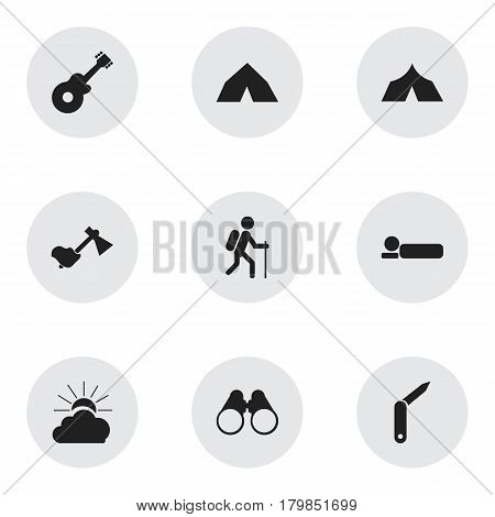 Set Of 9 Editable Trip Icons. Includes Symbols Such As Sunrise, Bedroll, Field Glasses And More. Can Be Used For Web, Mobile, UI And Infographic Design.