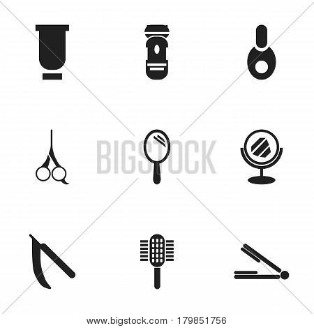 Set Of 9 Editable Hairstylist Icons. Includes Symbols Such As Vial, Blade, Shaving And More. Can Be Used For Web, Mobile, UI And Infographic Design.