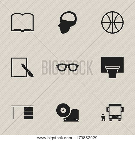 Set Of 9 Editable Science Icons. Includes Symbols Such As Cerebrum, Notepaper, Omnibus With Child And More. Can Be Used For Web, Mobile, UI And Infographic Design.