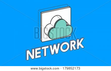 Data computing cloud icon graphic