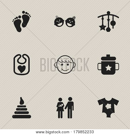 Set Of 9 Editable  Icons. Includes Symbols Such As Twins Babies, Footmark, Goplet And More. Can Be Used For Web, Mobile, UI And Infographic Design.