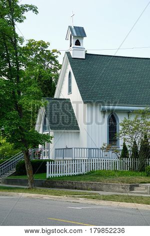 Saint John's Episcopal Church offers worship services during the summer near downtown Harbor Springs, Michigan.