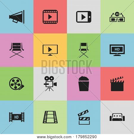 Set Of 16 Editable Filming Icons. Includes Symbols Such As Couch, Tape, Shooting Seat And More. Can Be Used For Web, Mobile, UI And Infographic Design.