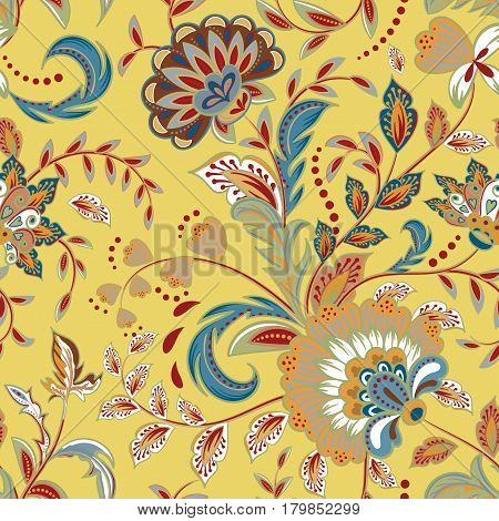 Seamless pattern with fantasy flowers, natural wallpaper, floral decoration curl illustration. Flower print hand drawn elements. Home decor. Pastel blue yellow brown.