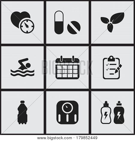 Set Of 9 Editable Lifestyle Icons. Includes Symbols Such As Energetic Beverage, Plant, Scales And More. Can Be Used For Web, Mobile, UI And Infographic Design.