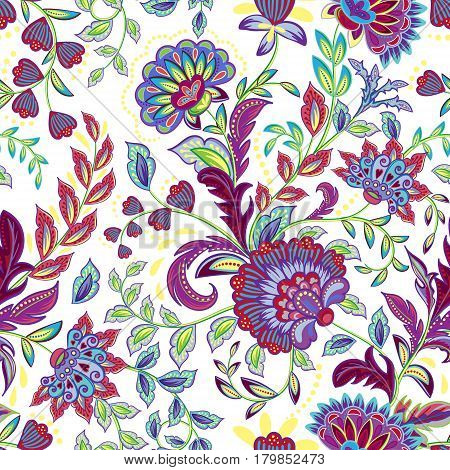 Hand drawn flower seamless pattern. Colorful seamless pattern with floral pattern in eastern style. Vector pattern for textile. Isolated on a white background.