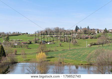 Landscape French Limousin with village La Porcherie