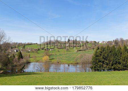 Landscape French Limousin with village La Porcherie