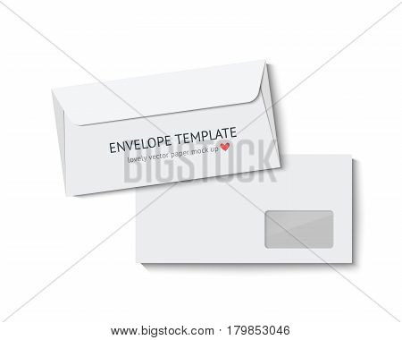 Envelope mock up. Realistic vector illustration template for designer portfolio presentetion. White paper envelopes isolated on white background