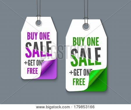 Label tags set - buy one get one free, realistic vector paper. Promotion set for web sites and print
