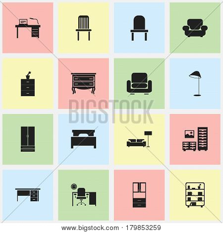 Set Of 16 Editable Furniture Icons. Includes Symbols Such As Bookshelf, Recliner, Illuminant And More. Can Be Used For Web, Mobile, UI And Infographic Design.