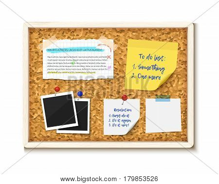 Bulletin board with photos, post it notes and torn paper pieces, vector realistic illustration. Cork board with wooden frame isolated on white background