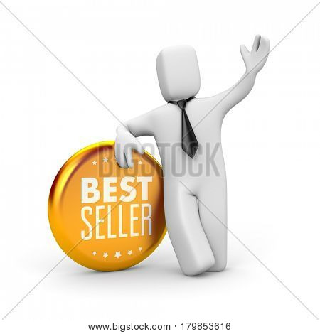 Best seller. Businessman and gold medal. 3d illustration
