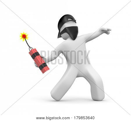 3D man with dynamite in the mask and cap - riots, street protest. 3d illustration